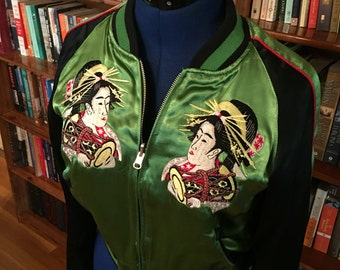 GEISHA GIRL--1990s Reversible Satin Jacket with Beautiful Embroidery--S, M