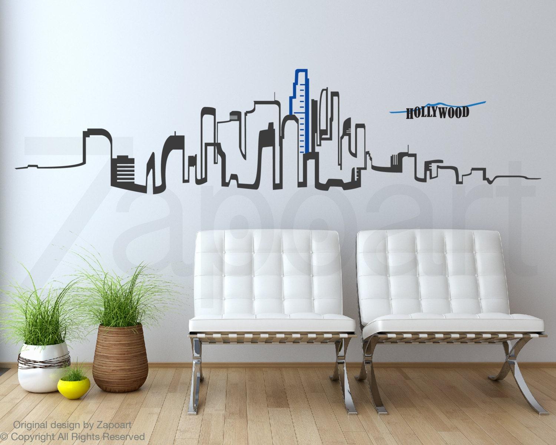 los angeles skyline wall vinyl decal zoom
