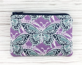 SALE - Purple Butterfly Coin Purse, Zipper Card Wallet, Change Purse, Zipper Pouch, Gift for her, Padded
