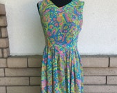 50s 60s Neon Abstract Semi Sheer Fit and Flare Sun Dress Size Small