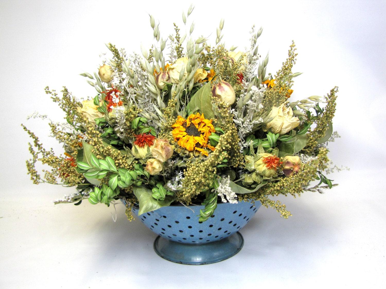 Fragrant Dried Flower Arrangement Rustic Fall Centerpiece