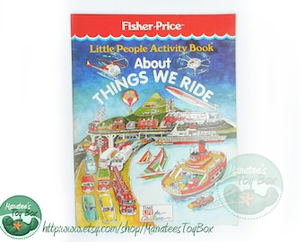 1980s Fisher Price Little People Activity Book About Things We Ride Unused