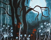 The Woods are Lovely Dark and Deep -Fantasy Art Print -SURREAL Moon Print - Giclée Wall Art Print Moon - Original Art by Annabelle Ghostales