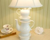 Teapot Lamp, White Single Teapot with Creamer and Reticulated Saucers, Alice in Wonderland Shabby Chic Cottage Wedding