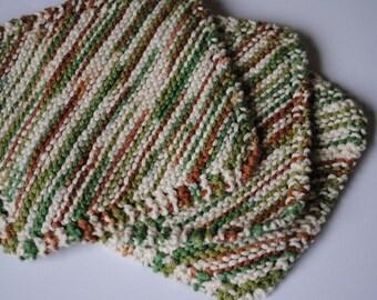 Set of 3 Cotton Dish Cloths, Earth Tones, Greens, Creams, Browns, 100% cotton, biodegradable, green, environmentally friendly