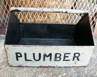 Old Metal Plumber Carry All Tool Storage Tote Rustic Industrial Decor