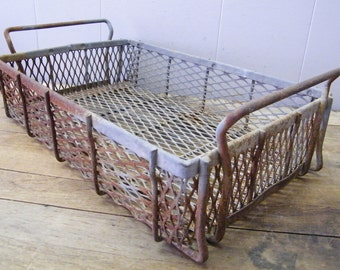 Old Industrial Metal Wire Storage Bin Tote Basket