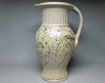 Rock Hard Pottery   , large pitcher with decoration of acorns and oaks leaves , Paul Morris