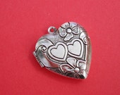Heart Photo Locket Ox Silver Brass Double Hearts Engraved  Victorian Style Pendant.