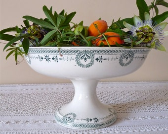 big LARGE French Antique Pedestal Digoin EMPIRE Style  -  French Antique Pedestal Fruit Bowl - Cake Stand