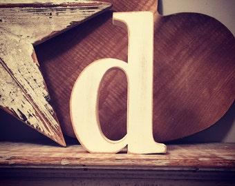 Freestanding Wooden Letter - Lowercase 'd' - georgian font - 15cm