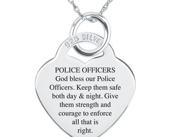 Police Officers Prayer Necklace, Personalized, 925 Sterling Silver