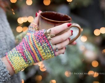 Monday Sunday Fingerless Gloves - Hand knit fingerless texting gloves: Calypso