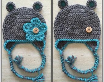Ready to Ship - Crochet Baby Bear Beanie with Earflaps *Newborn Size*