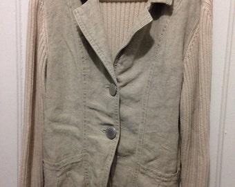 Blue Willis cardigan sweater jacket multi textured 100% cotton SZ L