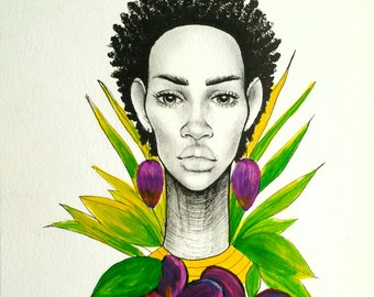 Original Afro natural hair illustration 9x12 on canvas paper