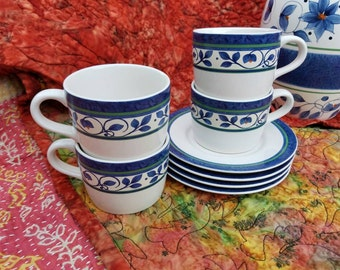 Pfaltzgraff Coffee Cups And Small Plates For Four Orleans Pattern Blue & White by AntiquesandVaria