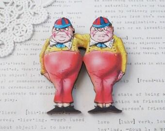 Tweedledum & Tweedledee Brooch