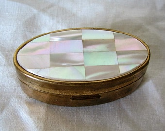 Vintage Compact Mother Of Pearl Lipstick Case Max Factor
