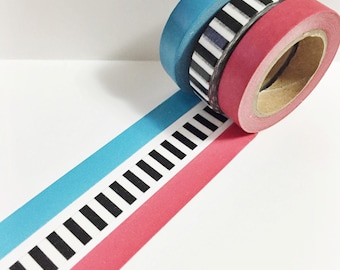 Set of 3 Solid Dark Red Solid Cobalt Blue Black and White Striped Skinny Washi Tape 11 yards 10 meters 10mm