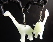 Brachiosaurus dinosaur upcycled toy earrings recycled kitsch kawaii funny hipster glow in the dark green