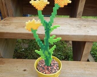 OOAK yellow wildflowers pixel art retro flowers original design flowerpot colorful fake flower handmade