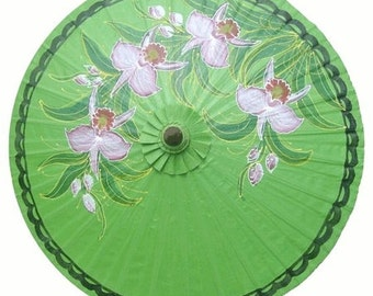 Grass green thai umbrella  with orchid oil paper enamel