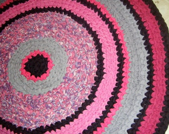 Handmade Crochet Pink Girls Rug - for Etsy