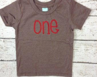 Ready to Ship first birthday shirt , one shirt, boy's birthday shirt, brown and red, first birthday gift