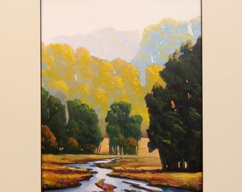 Hawkins Impressionist American West Farm fields water river of Gold matted Giclee print on archival 100# heavy stock Gift Sale