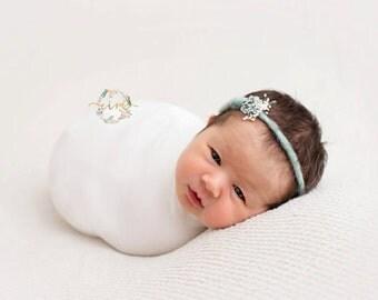Newborn Wrap Set) tieback headband and newborn jersey wrap/ baby wrap/ natural headband/ Newborn props/ prop set/ newborn photo prop
