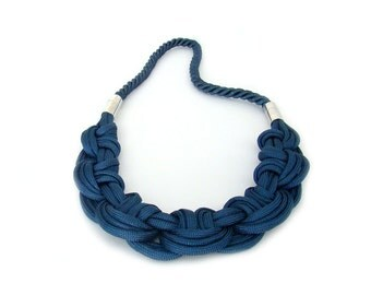 Navy Blue Parachute Cord Knot Necklace, Nautical Rope Necklace