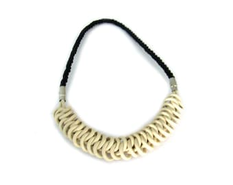 Cream and Black Leather Knot Necklace