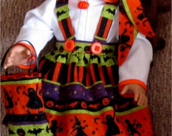 "Orange Green Black Halloween Print Jumper Blouse Headband Trick Or Treat Bag Fits American Girl Dolls or Similar 18"" Dolls"