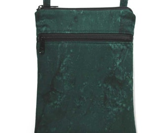 Double Zipper Crossbody Bag Small Shoulder Purse Sling Bag Cross Body Bag - Dark Green Batik- Ready to Ship