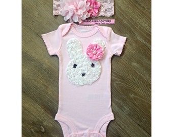 Easter Bunny Couture Pink Bunny Bodysuit & Headband Set 1st Easter, Spring Outfit, Newborn Girl Outfit, Easter Photo Prop, Bunny Outfit