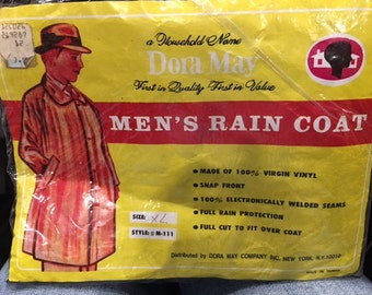 Vintage Dora May MEN'S RAIN Coat size XL made in Taiwan made of 100% vinyl cool graphics Hipster fashion