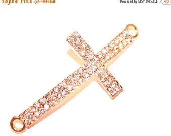 10% off SALE NEW  Rhinestone Sideways Cross Connector  Gold Bracelet Cross Connector