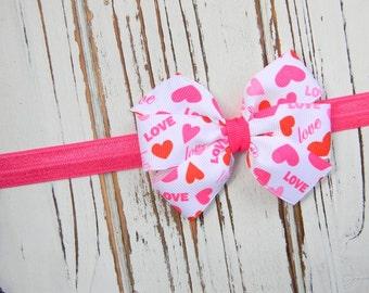Heart Bow Headband, Valentines Headband, Bow Headband, Valentines Bow, Valentine's Bow Headband