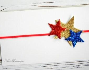 4th of July Headband -Stars Headband - July 4th Headband - Red, White and Blue Headband - Baby 4th of July Headband