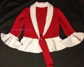 Girls red/white fleece jacket