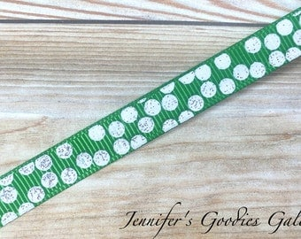 "Glitter Silly Dots on Emerald Ribbon, 3/8"", US Designer Ribbon, Polka Dot Ribbon, Glitter Dots, Ribbon by The Yard, Hair Bow Ribbon"