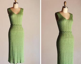 1970s Key Lime Knit Dress
