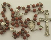 Rosary,  Miraculous Medal,  Heart Crucifix, Red Sesame Jasper Gemstone, White Cloisonne Beads, Strong, Stainless Steel, Handcrafted Rosary