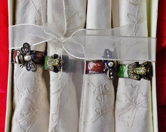 Unusual Napkin Rings,Enamel Set of Four Heavily Decorate Brass Napkin Rings With 4 Marks & Spencer Linen Napkins, Decorated Insect Napkins