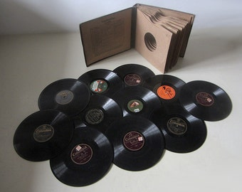Vintage Record Album Book With 11 78rpm Gramophone Records