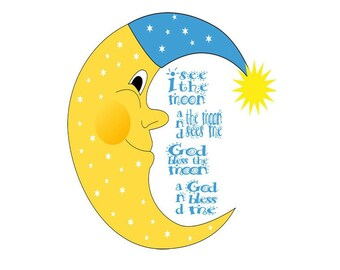 I See The Moon Image, Moon Cutout, Large Moon Poster , Word Art Image, Wall Décor, Kids Room, Nursery Décor, Home Décor, Moon PNG