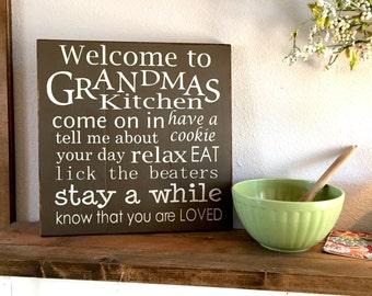 Large Wood Sign - Welcome to Grandmas Kitchen- Farmhouse Sign - Grandma - Gifts for Grandma - Kitchen Decor - Grandma and Grandpa - Gift