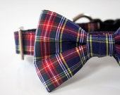 Traditional Tartan Plaid Bow Tie Dog Collar - navy, red