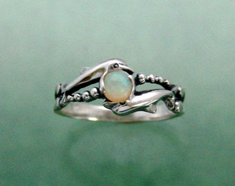 Two Dolphins with 4mm Opal ~ Size 2 to 8